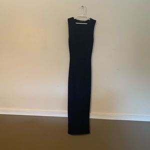 pretty little thing navy blue long dress size 2